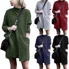 Women Casual Plain Loose Long Sleeve High Neck T Shirt Dress With Pockets Autumn