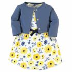 Touched By Nature Girl Organic Cotton Dress and Cardigan, Yellow Garden