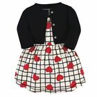Touched By Nature Girl Organic Cotton Dress and Cardigan, Black and Red Heart