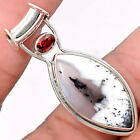 Dendritic Opal and Garnet 925 Sterling Silver Handmade Pendant Jewelry SDP36887