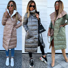 Womens Ladies Winter Coat Long Padded Quilted Puffa Jacket Warm Hooded Plus Size