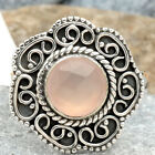 Faceted Pink Chalcedony 925 Sterling Silver Ring Jewelry s.7.5 SDR64468