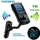 VicTsing Bluetooth In Car FM Transmitter USB Radio Adapter Music Player AUX TF