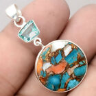 Natural Spiny Oyster and Aquamarine 925 Sterling Silver Pendant Jewelry SDP52122