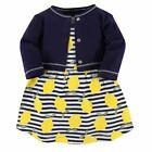 Touched By Nature Girl Toddler Organic Cotton Dress and Cardigan Set, Lemons