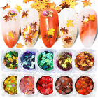 Maple Leaf Nail Art Glitter Sequins Stickers Holographic Flakes Chameleon Decors