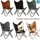 Retro Butterfly Chair Real Leather Metal Upholstered Garden Home Furniture Seat
