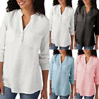Womens Oversize Solid Long Sleeve Cotton Linen V Neck Tunic Loose Shirts Blouse