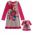NWT Dreamworks Girls Pink & Grey Nightgown and Doll Gown Set(Size 8) NEW image