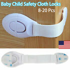 US 8-20Pcs Baby Child Safety Cloth Locks for Drawer Door Cabinet Oven Cupboard
