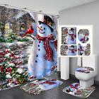 Kyпить Christmas Snowman Xmas Shower Curtain Bathroom Anti-slip Carpet Rug Toilet Cover на еВаy.соm