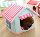 Pet Dog Cat House Beds Kennel Folded indoor House Tent Mat Cushion Removable M