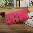 Woman Long Wallet Suede Leather Wallets Coin Purse Card Holder Clutch Xmas Gift