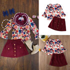 US Toddler Kids Baby Girls Floral Long Sleeve Tops Skirt Dress Outfits Clothes