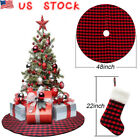 "48""Christmas Tree Skirt Stands Red &Black Buffalo Plaid Double Layers Xmas Decor"