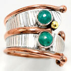 Two Tone Tribal - Russian Amazonite 925 Silver Ring Jewelry s.8.5 SDR48712