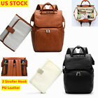 Faux Leather PU Mummy Diaper Backpack, Baby Nappy Travel Bags Changing Pad
