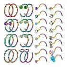 32PCS/LOT CZ Nose Rings Hoop Screw Nose Stud Surgical Steel Piercing Jewelry 20G image
