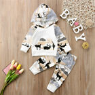 Newborn Baby Boy Girl Graphic Hooded Tops Sweatshirt Long Pants Outfits