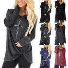 Womens Ladies Faith Printed Long Sleeve Blouse Top Tunic T-Shirt Jumper Pullover