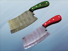 """10"""" long Damascus steel full tang blade meat & vegetable cleaver, Leather sheath"""