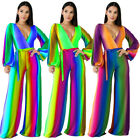 Women Gradient Colorful Print V Neck Long Sleeve Wide Legs Casual Club Jumpsuit