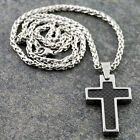 "Tungsten Carbide Black Carbon Fiber Inlay Cross Pendant 18"" to 26"" Wheat Chain"