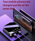 Portable Mini Power Bank Mirror Screen Digital Disply 2.1A Fast Charge