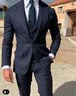 Navy Mens Peak Lapel Suits Groom Wedding Formal Business Party 3 Pieces Tuxedos