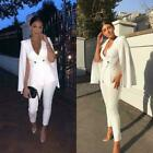 Women's Suits Cape Style White Formal Blazer Double-breasted Party OL Suits Sets