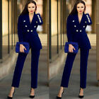 Women Formal Pant Suits Prom Party Office Work Wear Tuxedos Royal Blue Velvet