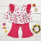 US Toddler Kid Baby Girl Valentine's Day Clothes Ruffle Top Flared Pants Outfit