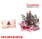 US! Christmas Santa Claus 3D Christmas Tree Greeting Cards Table Decor with Card