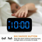 US Large Screen LED Digital Alarm Clock Snooze USB Battery Powered Voice Control