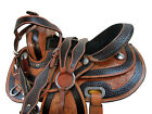 USED TRAIL SADDLE 15 16 PLEASURE HORSE FLORAL TOOLED DARK BROWN BORDER TACK SET