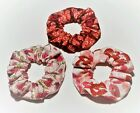 Valentine's Day Set Of 3 Scrunchies Red White Pink