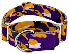 Country Brook Petz® 1 1/2 Inch Purple and Gold Camo Martingale Dog Collar