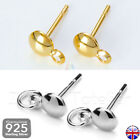 925 Sterling Silver Stud Posts With Loop Earring Finding Jewellery Making _424