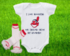 Cleveland Indians Outfit Onesie And Ruffle Leggings Set Watching WIth Grandma on Ebay