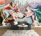 3D Woman Wolf B8596 Wallpaper Wall Mural Removable Self-adhesive Sticker Zoe