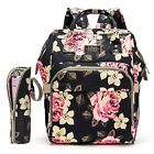 Mom Diaper Bag Baby Nappy Backpack Flower Insulated Bottle Bag  Changing Pad US