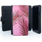 Palm tree Leaves Pink Wallet Leather Phone Case Cover