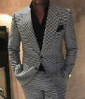 Houndstooth Groom Tuxedos Peak Lapel Men Wedding Formal Prom Dinner Party Suits