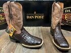 Men's Denver Chocolate Caiman flank square toe western boot by Dan Post.