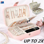 Travel Leather Jewellery Box Organizer Ornaments Case Ring Earring Storage Tray