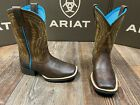 Kid's Chute Boss square toe western boot by Ariat. Distressed Brown