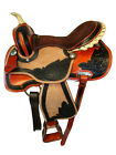 BARREL RACING SADDLE WESTERN HORSE PADDED SEAT BROWN TOOLED LEATHER TACK 15 16