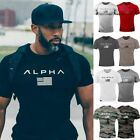 Alpha Men's Gym T-Shirt Bodybuilding Fitness Training Workout Muscle Top New Tee image