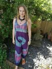 Full Length Tie Dye Jumpsuit Romper, Colourful Dungarees Overalls, Hippy Boho