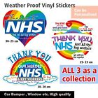 Rainbow Window Vinyl Sticker Collection Thank You Nhs&key Workers Window,car,bin